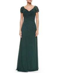La Femme Ruched Cap Sleeve Gown Forest Green