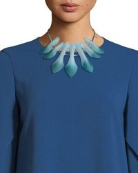 Lafayette 148 New York Sculpted Leaf Statement Necklace Glaze Blue Multi