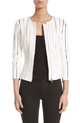 Versace 'S Collection Leather Panel Jacket White