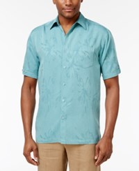 Cubavera Floral Jacquard Short Sleeve Shirt Colonial Blue