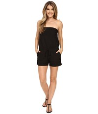 Allen Allen Linen Romper Black Women's Jumpsuit And Rompers One Piece