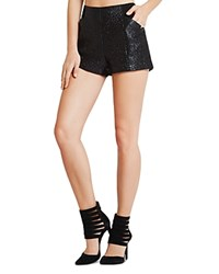Bcbgeneration Contrast Panel Metallic Foil Tweed Shorts Black