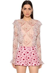 Giambattista Valli Ruffled Printed Silk Georgette Blouse