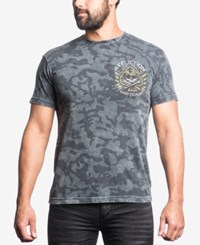 Affliction Men's Ace Couture Camouflage Graphic Print T Shirt Vintage Black