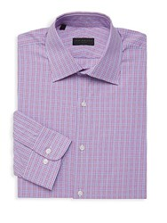 Ike By Ike Behar Checkered Long Sleeve Dress Shirt Berry