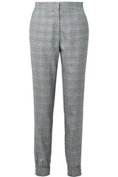 Tibi Cooper Prince Of Wales Checked Wool And Silk Blend Track Pants Gray