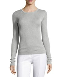 Michael Kors Metallic Knit Crewneck Sweater Silver