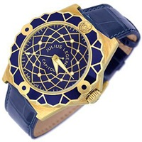 Julius Legend Capitol 18K Gold And Blue Crocodile Leather Watch