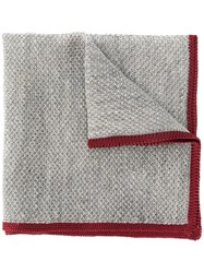 Canali Contrast Piped Scarf Grey