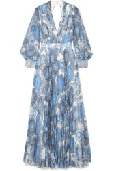 Alice Olivia Cheney Cutout Floral Print Georgette Maxi Dress Blue