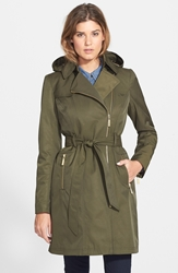 Vince Camuto Water Resistant Trench Coat With Removable Hood Regular And Petite Olive