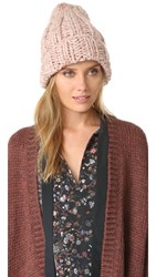 Free People Back To Basic Chunky Rib Beanie Dusty Mauve