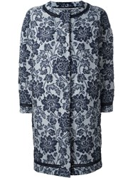 Ermanno Scervino Floral Brocade Coat Blue