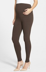 Women's Japanese Weekend Over The Belly Maternity Leggings Brown