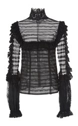 Costarellos French Tulle Lace Ruffle Trim Shirt Black