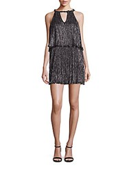 Ella Moss Cerine Metallic Tiered Keyhole Dress Black
