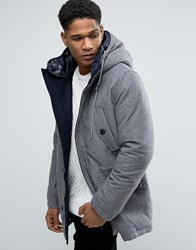 Celio Paded Parka With High Neck Detail In Wool Mix Gris Clair Grey