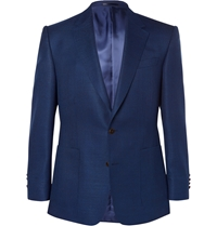 Gieves And Hawkes Blue Woven Wool And Mohair Blend Blazer
