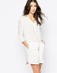 See U Soon Shirt Dress With Embellished Collar Off White