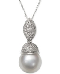 Macy's Cultured South Sea White Pearl 9Mm And Diamond 3 8 Ct. T.W. Pendant Necklace In 14K White Gold