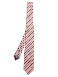 Dunhill Striped Linen And Silk Blend Tie Orange Multi