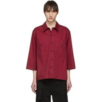 Christophe Lemaire Red Military Three Quarter Sleeve Shirt