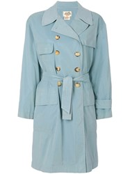Hermes Vintage Double Breasted Trenchcoat Blue