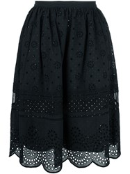 Marc By Marc Jacobs Broderie Anglaise Scalloped Skirt Black