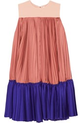 Roksanda Ilincic Malene Color Block Pleated Satin Twill And Crepe De Chine Mini Dress Antique Rose