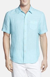 Men's Tommy Bahama 'Party Breezer' Island Modern Fit Short Sleeve Linen Sport Shirt Clear Lake