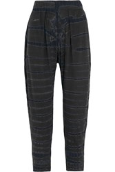 Raquel Allegra Tie Dyed Stretch Cotton Blend Jersey Tapered Pants Black