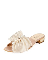 Sesto Meucci Wesi Pearl And Bow Slide Sandals Beige