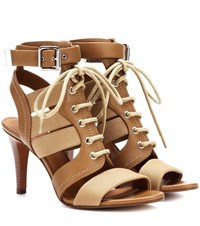 Chloe Leather And Canvas Sandals Brown