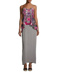 Camilla Low Back Layered Maxi Dress Straight And Narrow Multi
