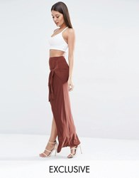 Club L Slinky Knot Detailed Skirt Chocolate Brown