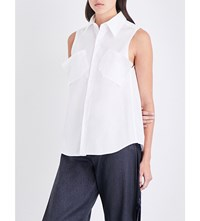 Limi Feu Sleeveless Cotton Poplin Shirt White