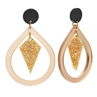 Toolally Pear And Diamond Shaped Drop Earrings Nude Glitter