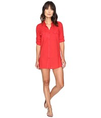 Lauren Ralph Lauren Crushed Camp Shirt Cover Up Red Women's Swimwear