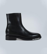 Balenciaga Soft Leather Ankle Boots Black