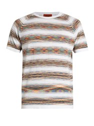 Missoni Striped Crew Neck Cotton T Shirt White Multi