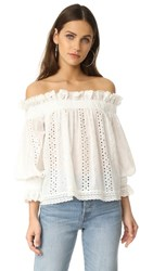 Endless Rose Off Shoulder Top With Ruffle Cuffs Off White