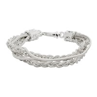 Emanuele Bicocchi White Double Chain And Braided Bracelet