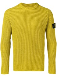 Stone Island Logo Patch Ribbed Jumper Green