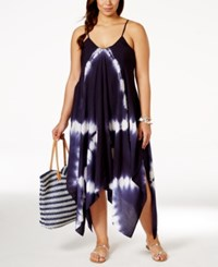 Raviya Plus Size Tie Dye Handkerchief Hem Cover Up Dress Women's Swimsuit