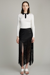 Proenza Schouler Asymmetrical Woven Long Fringe Skirt Black