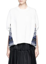 Sacai Embroidered Tribal Lace Organza Back Sweater White