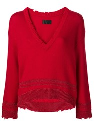 Rta V Neck Boxy Sweater Red
