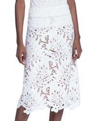 Tracy Reese Laser Cut A Line Skirt White