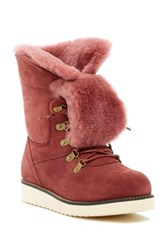 Australia Luxe Collective Yael Hidden Wedge Foldover Genuine Shearling Boot Red