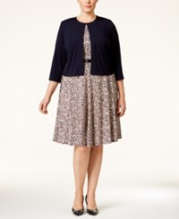 Jessica Howard Plus Size Belted Fit And Flare Dress And Jacket